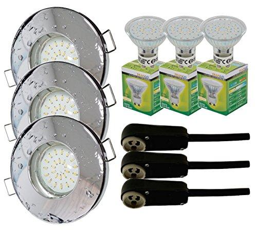 Trango - Lot de 3spots encastrables IP44pour salle de bain / douche / sauna + 3x ampoule LED type GU10 de3W - 3000K, blanc chaud, Chrom TG6729IP-038B, GU10 3.00 watts 230.00 volts