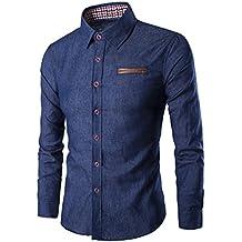 YCHENG Camisa Vaquero PU Pecho Bolsillo Cierre de Botón Manga Larga Puños Cuadrícula para Hombre