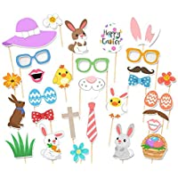 Accessoires Photo de Pâques Kit DIY Selfie Oeuf Lapin Dress Up Costume Accessoires Pâques Photographie Themed Props 29pcs Motif Lapin Festival Party DIY Décoration Photo Props Booth Party Favors