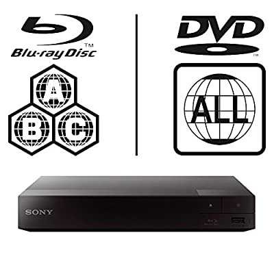 SONY BDP-S1500 Lecteur Multi Zone Region Code Free Blu Ray - DVD - CD Player - PAL/NTSC - Worldwide Voltage 100~240V - 1 USB, 1 HDMI, 1 COAX, 1 ETHERNET Connections + 6 Feet HDMI Cable Included.