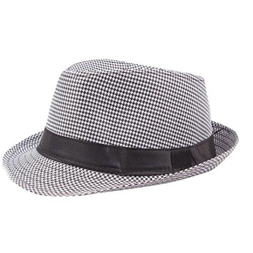 ❤️YunYoud❤️ Hut Damen Herren Panama Sonnenhut Plain Fühlte Strand Strohhut Trilby Gangster Hut Stoffhut mit Sonnenschutz Breite Krempe Outdoor Hüte (Weiß)