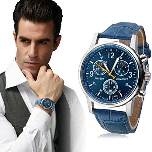 Yogogo Herren Quartz Analog Armband , 1 Cent Artikel Armbanduhr | Lederband | Dekoration | Sportuhr | Geschenk | Alugehäuse | Quarzwerk | 24cm Bandlänge (Blau)