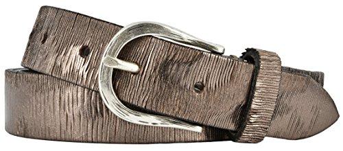 Vanzetti Damen Leder Gürtel Vollrindleder Metallicfinish Damengürtel taupe-copper 30 mm Ledergürtel (85 cm)