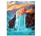 Menddy Peinture numériqueDécor Mur Photos Peinture par Numéros Bricolage Peinture À l'huile Numérique sur Toile Cascade De Cheveux Blancs 40x50cm sans Cadre
