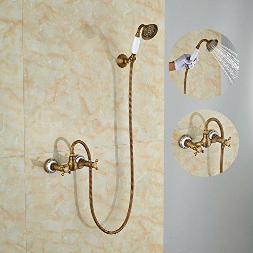 Maifeini  Neu Moderne Messing Antik Dusche Eingestellt Ist, Um Einen Hebel Mit Handbrause Tippen Sie Auf Mischpult Wasserhahn, Dunkles Khaki