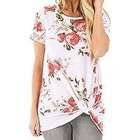 Tosonse Camiseta para Mujer Tops Cuello Redondo Blusa Tanques De Regalo Camisas De Verano Camiseta De Manga Corta Imprimir Túnica