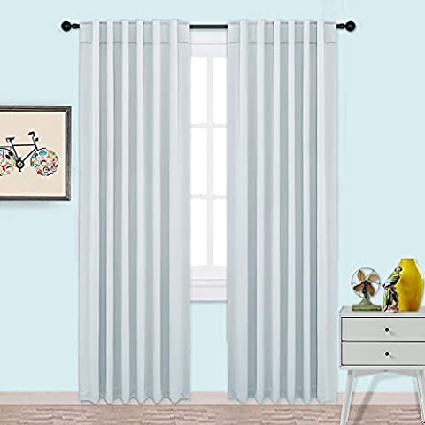 Blackout Curtain Panels Window Treatments - PONY DANCE Thermal Insulated Room Darkening Solid Soft Rod Pocket & Back Tab Curtains / Drapes for Bedroom,Living Room W 52