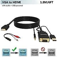 VGA zu HDMI Adapter Kabel 1.8M (Alter Stil PC Fernsehapparat/Monitor mit HDMI), FOINNEX VGA auf HDMI Konverter Kabel mit Audio für Das Anschließen des PC, Laptop mit Einem VGA zum Monitor