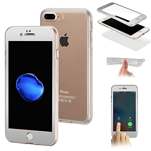 Custodia iPhone 7, iPhone 7 Cover Silicone Trasparente, SainCat Cover per iPhone 7 Custodia Silicone Morbido, 360 Gradi Full Body Shock-Absorption 3D Design Custodia in Ultra Slim Transparent Silicone Argento