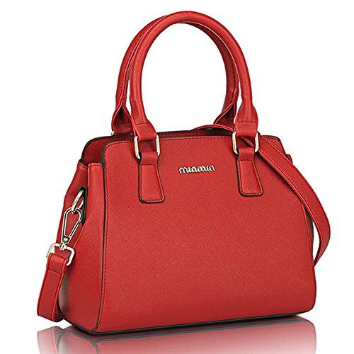 fanhappygo Fashion Retro Leder Damen Büro-Dame Schulterbeutel Umhängetaschen Tote Taschen Abendtaschen Rot