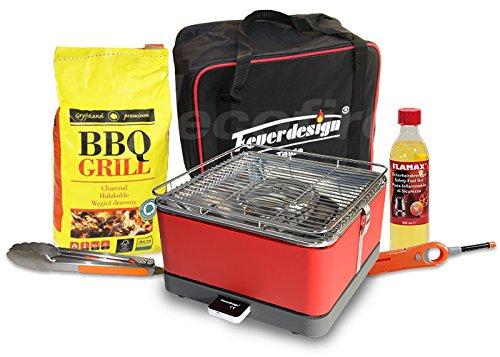 Rauchfreier Holzkohle Tischgrill TEIDE v. Feuerdesign - Rot, im Super Pack mit viel Grill-Zubehör