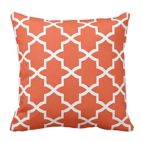 Decorative Square Orange and White Trellis Pattern Cushion Pillowcases With Design Home Sofa Two Sides Two Sides 18 x 18 Inches (White Trellis)
