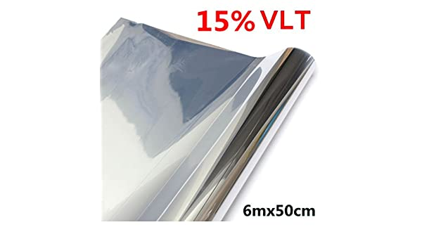 15/% 30/% 6mx50cm LVT Car Auto Window Glass Tint Film Tinting Roll Silver Mirror