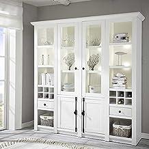 Pharao24 Landhaus Wohnzimmerschrank Mit Weinfachern Pinie Weiss LED Beleuchtung Energieeffizienzklasse