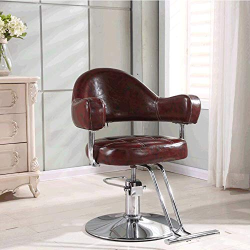 MIMI KING Friseurstuhl Friseursalon gewidmet Europäischer Retro Friseursalon Sessellift rotierenden Haarschnitt Stuhl heiß Färben Hocker,DarkRed