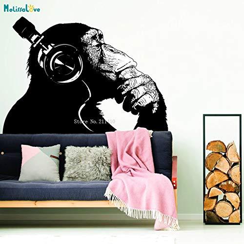 Gorilla Post (Denken Affe Wandkunst Aufkleber Schimpanse Aufkleber Der Denker Gorilla Mit Kopfhörer Dekor Street Art Graffiti Wandbilder YT M 118x84cm)
