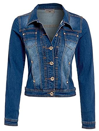 NEW Womens Denim Jacket Stonewash Blue Size 8 10 12 14 16: Amazon ...