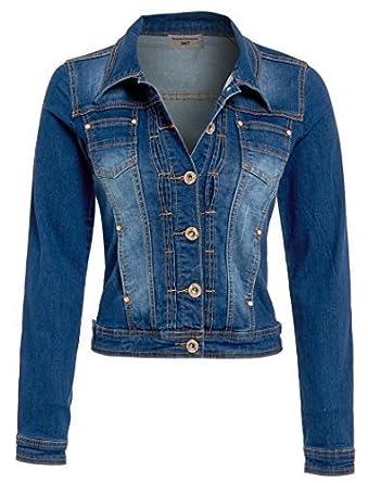 NEW Womens Denim Jacket Stonewash Blue Size 8 10 12 14 16: Amazon ...