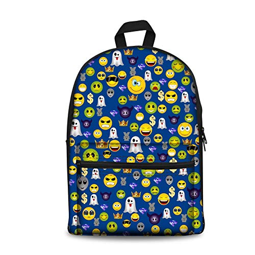 Canvas Schultasche für Mädchen Jungen Emoji Rucksack Teens Book Bag Kinder Daypack (Color : Style 7, Size : -)