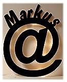 Schlummerlicht24 Wand Led Licht Lampe '@' Zeichen mit Name Geschenk für Internet-Fans, als Computer Freaks PC Deko