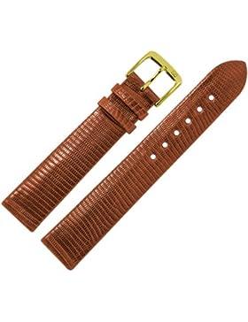 MARBURGER Uhrenarmband 18mm Leder Braun - Rindsleder, Eidechse Prägung - Inkl. Zubehör - Ersatzarmband, Schließe...