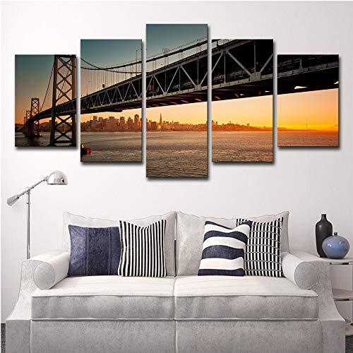 alicefen HD-Druckmalerei Sprühmalerei 5 San Francisco Oakland Bay Bridge Sonnenuntergang Landschaftsmaler Art Deco -
