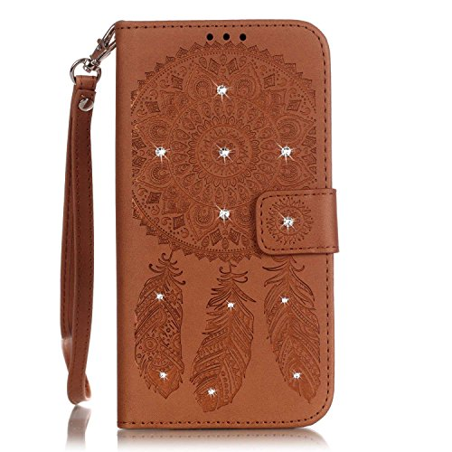Custodia iPhone 7,Cover iPhone 7, YingC-T Elegante 3D Creativo di Goffratura Campanula Dreamcatcher Puro Oro Custodia in PU pelle Stampata Diamanti Glitter Bling Brillantini Rigida Disegno Premium di  Marrone