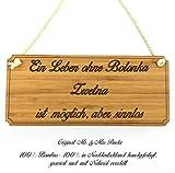 Mr. & Mrs. Panda Hunde Türschild Bolonka Zwetna Classic Schild - 100% handgefertigt aus Bambus Holz - Hund Hunderasse Tierrasse Tier Tiere Geschenk Geschenke Tierfreund Dog Anhänger Schlüsselanhänger