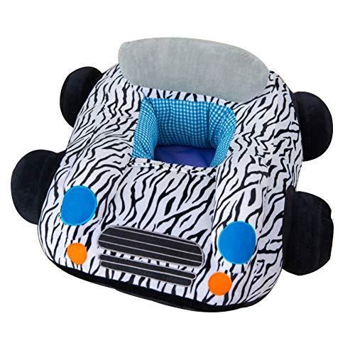 Softneco Portatile Divano per Bambini, Piccola Sedia di Salotto di apprendimento Supporto Lombare Morbido farcito Auto a Forma di Peluche Giocattoli per Bambini -Zebra 70 x 60cm