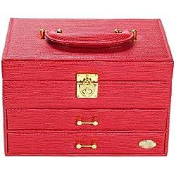 Eeayyygch Elegante Mujer Bolso de Mano Joyero, Color Rojo, Piel,