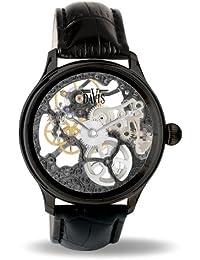 Davis 0899 - Montre Squelette Homme Acier noir Mouvement Mecanique Bracelet en Cuir Noir
