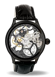 davis 0899 skeleton mechanisch herrenuhr mit sichtbarem uhrwerk schwarz armband aus. Black Bedroom Furniture Sets. Home Design Ideas