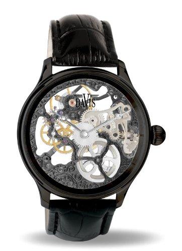 Davis 0899 - Orologio da uomo nero, scheletro meccanico, meccanismo a vista...