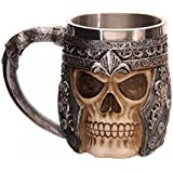 saibang 301?en acier inoxydable 400ml Boisson Bière Tasse à thé, Creative 3D Skull Design Tasse à café