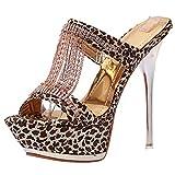 YE Damen Leopard High Heels Sandalen Plateau Offen Pantoffeln Mules Outdoor Slipper mit 13cm Absatz Sommer Abend Schuhe
