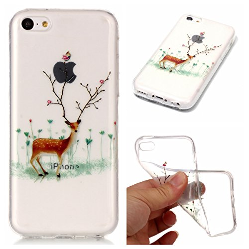 Christmas Hülle iPhone 5c LifeePro Weihnachts Cover Ultra dünn Weiches Transparent TPU Gel Silikon Handy Tasche Bumper Case Anti-Scratch Back Cover Full Body Schutzhülle für iPhone 5c Red Gloves Elk Branch Elk