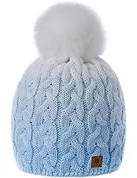 MFAZ Morefaz Ltd Mujer Hombres Beanie Sombrero De Invierno de Las con Pompón Esquí de Moda