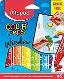 Maped Color'Peps Feutres Window de Coloriage Enfant pour Vitres, Pointe Large 5mm et Encre Effaçable à l'eau - 6 Feutres Assortis Surfaces Vitrées + 1 Chiffon Microfibre 20x20 cm