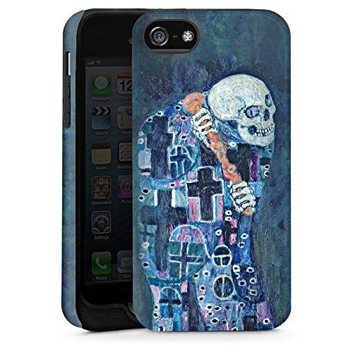 Apple iPhone 5 Housse Étui Silicone Coque Protection Gustav Klimt Tableau Mort et vie Cas Tough terne