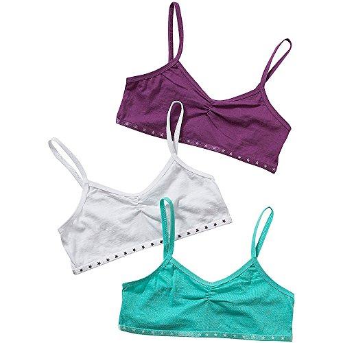 Just Essentials Girls Back To School 3 Pack Cotton Crop Bra Tops Turq/Purple- Turq/Purple - 7/8 Years