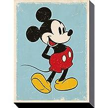 Set: Mickey Mouse, Retro Cuadro, Lienzo Montado Sobre Bastidor (40x30 cm) + 1x 1 Accesorio Decorativo De Promoción 1art1®