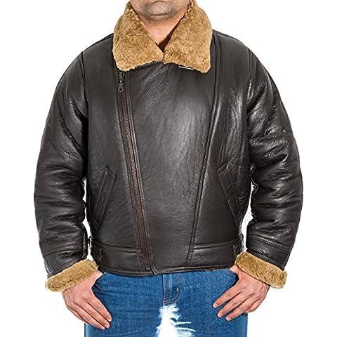 Para hombre Chaqueta de piloto de bombardero de los hombres de Brown de piel de oveja Crosszip americana con jengibre