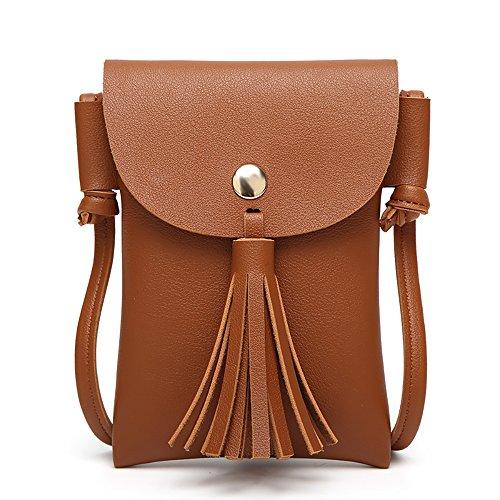 2018 Neue Damen Mini Handytasche koreanische Art Umhängetasche Modetrend Mini Quaste Crossbody Tasche Handtaschen (4) (Neue Handtasche Frauen)
