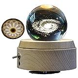 3D Galaxy Bola De Cristal LED De Luz/Luminoso Caja De Música Giratoria/Con Proyección Luces LED/Base De Madera/Navidad De Cumpleaños Mejor Regalo
