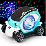 Toyshine 360-Degree Rotating Stunt Car Bump and Go Toy with 4D Flashing Lights and Sound