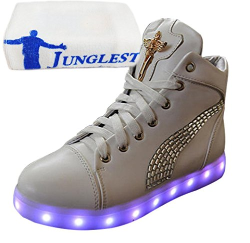 junglest Sneaker present Aufladen Led Leuchtend Usb Sportsch Handtuch Mit Partyschuhe kleines Strass Fasching Damen Weiß Hohe Xa8raHn
