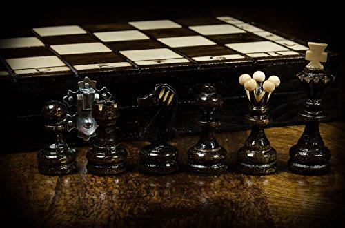 PERLEN-35cm14-In-Handarbeit-aus-Holz-Schachspiel