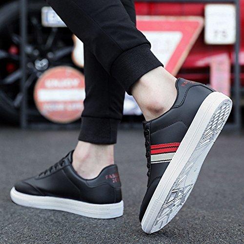 Huan Negro De Comodidad Planos De Zapatillas Transpirable Deporte Mocasines Zapatos Cordones La Hombres Raza Casual Cubierta qtnZv0