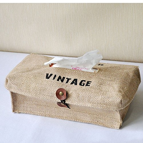 Generic Leinen Baumwolle Stoff Tissue Box Papier Holder Cover Handtuch Serviette Papier Aufbewahrungstasche Gewebe Fall Tisch Dekoration für Auto Home Decor (Bettwäsche Tissue Box Cover)