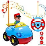 Estela RC Cartoon Autos, Rennauto Spielzeug Cartoon Radio Kontrolle RC Action Figur Radiosteuerung Radio kontrollierte Autos mit Musik für Kinder Baby(Blue)